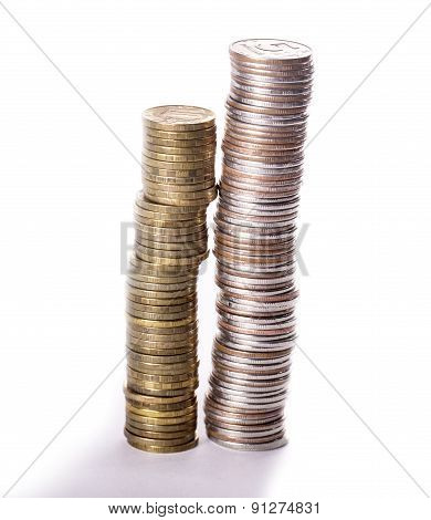 Column from metallic currency