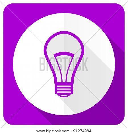bulb pink flat icon light bulb sign
