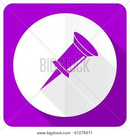 pin pink flat icon