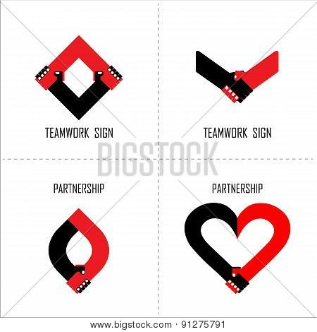 Handshake Abstract Logo Design Template. Business Concept.partnership Symbol