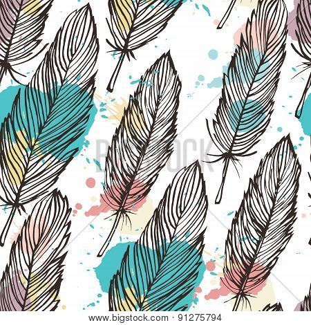 Pastel Colored Feather Seamless Background