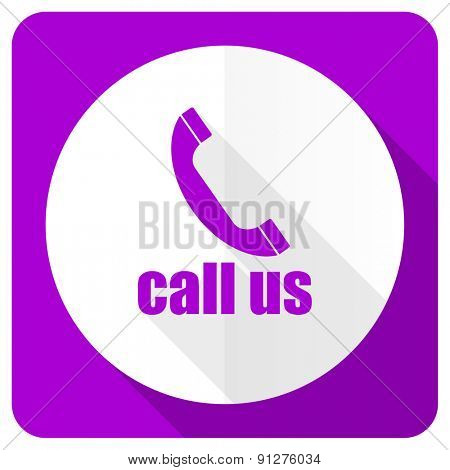call us pink flat icon phone sign