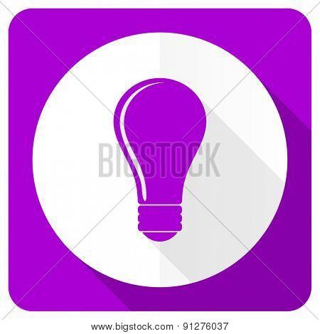 bulb pink flat icon idea sign