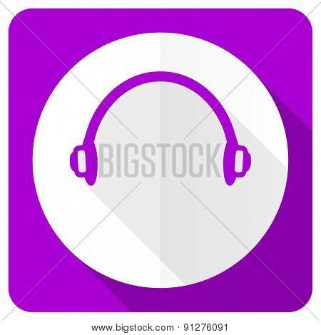 headphones pink flat icon