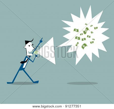 Vector Illustration Cartoon Businessman Holding A Megaphone