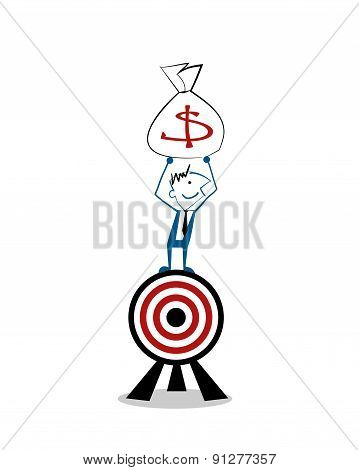 Vector Illustration Happy Businessman Standing Over Target With Money Bag