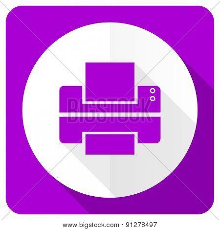 printer pink flat icon print sign