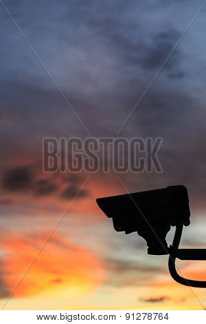Silhouette Security Cctv Camera With Beautiful Sunset Background