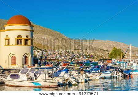 View of Kalymnos port with boats, Greece
