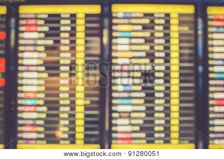 Blurred Image Of Departures Display Board At Airport