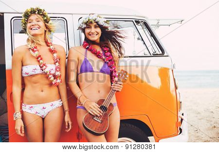 Beautiful Surfer Girls with Ukulele and Flower Leis hanging out on the Beach at Sunset with Classic Vintage Surf Van