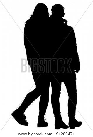 Couples of young girls on white background