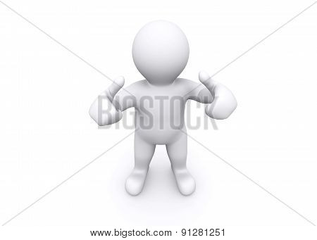 3D illustration of white man thump up say yes with clipping path.