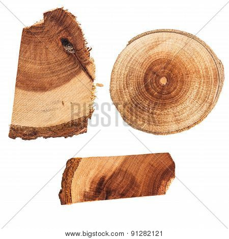 Set of wood slices