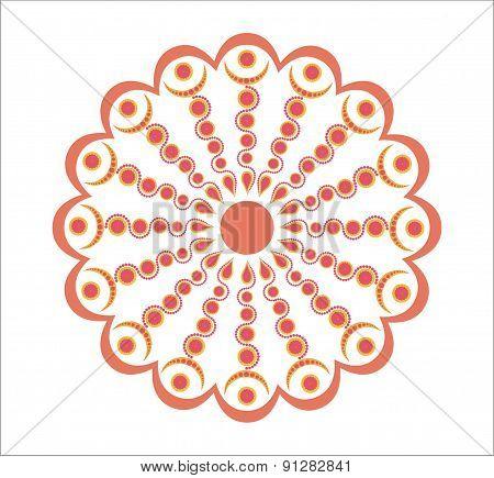 Orange Moroccan flower - decorative element