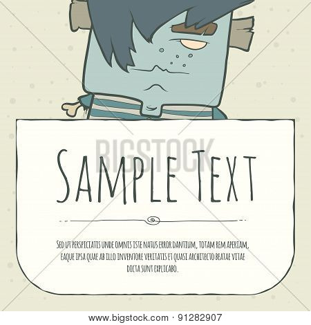 Cute doodle cartoon monster greeteng or invitation card with place for your text.