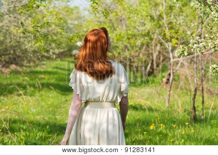 Beautiful Red-haired Girl Walks In Apple Orchard