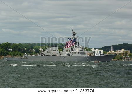 USS Stout guided missile destroyer during parade of ships at Fleet Week 2015