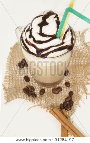 Iced Coffee With Foam And Cinnamon On Canvas