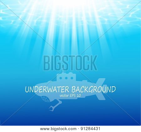 Blurred underwater background with sunbeams