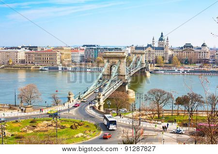 The Szechenyi Chain Bridge over Danube, Budapest, Hungary