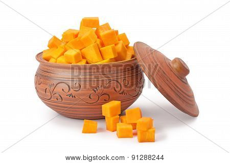 Slices Of Pumpkin In A Pot