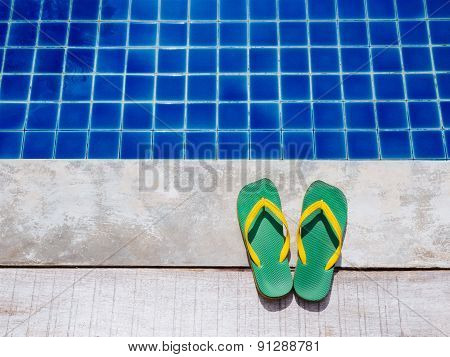 Flip Flops slipper and Pool Summer Holiday Background