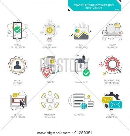 Seo internet marketing icons, modern flat design vector illustration