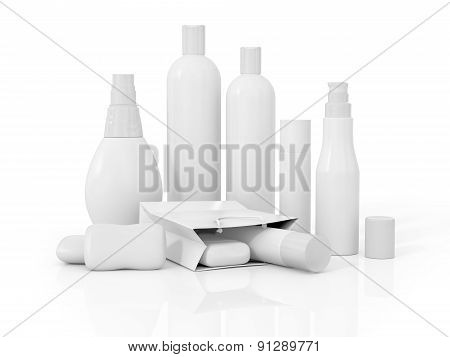 White Cosmetic Containers Isolated On White