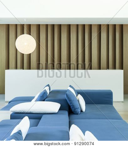Sofa and pillows with counter bar Modern style  Interior decoration