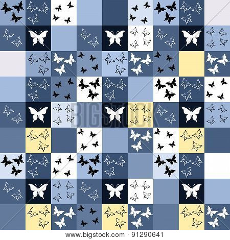 Seamless Blue Mosaic With Butterfly Motif