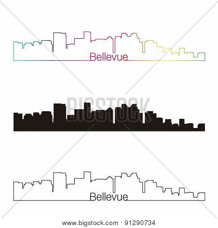 Bellevue Skyline Linear Style With Rainbow