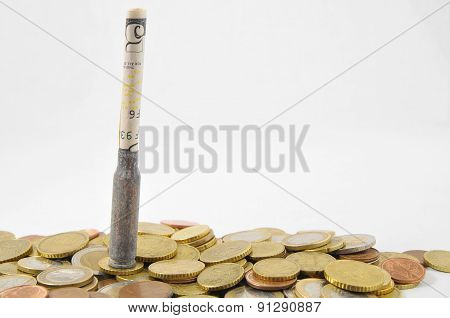 Money and Weapons Concept Bullet and Money