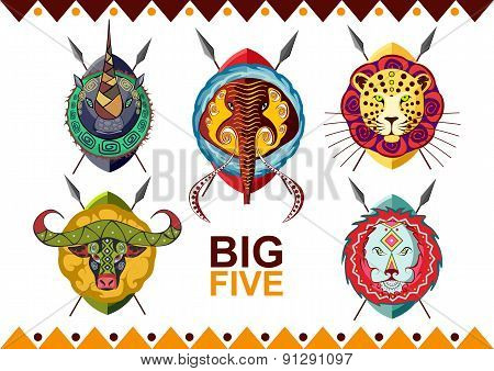 African big five. Rhino, buffalo, elephant, leopard and lion.