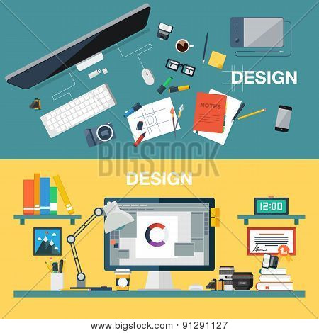 Flat design vector illustration of creative design office workspace, designer workplace. Top view.