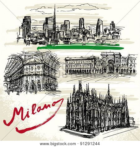 Milan - Italy - hand drawn set