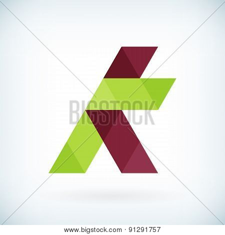 Modern Letter K Icon Flat Design Element Template