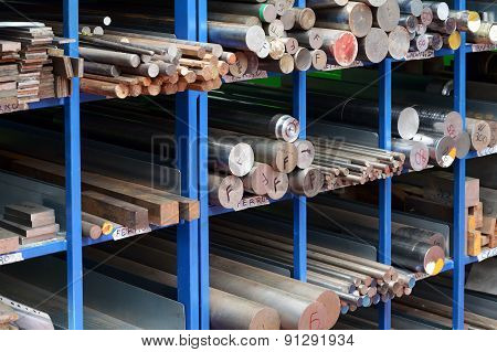 Racks Of Steel And Iron Bars