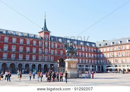 Tourists On Plaza Mayor.