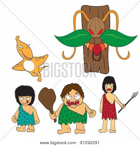 Stone Age People Cartoon Vector Illustration