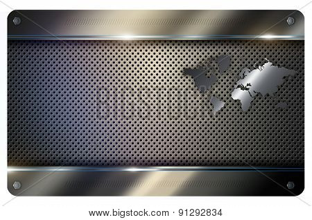 Business Card Template. Abstract Metal Background.