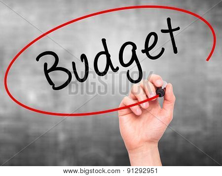 Man Hand writing Budget with marker on transparent wipe board.