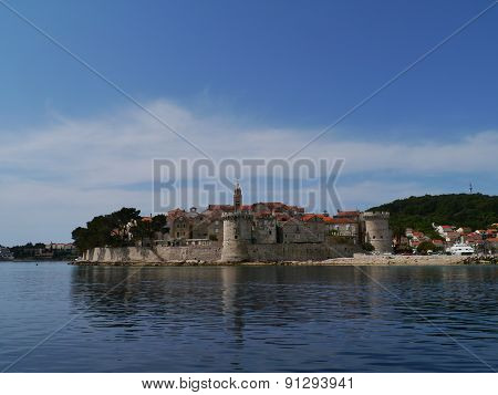 Korcula city with the St Mark cathedral