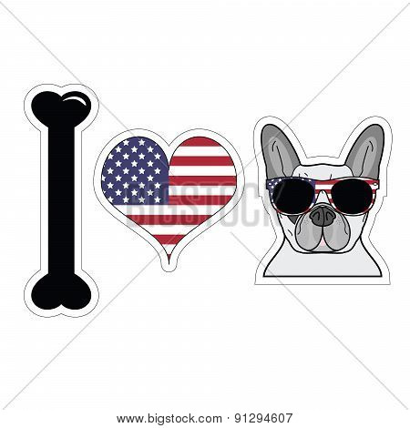 I Love French Bulldog With American Symbols 2