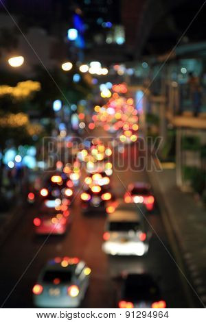 Blur light of traffic car