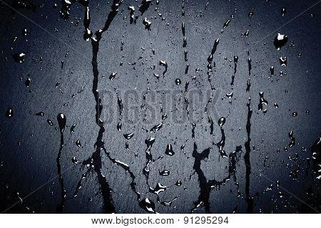 Water On Dark Stone Surface