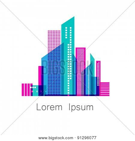 Urban metropolis - template logo for a construction company , the sale or lease of houses , apartments, offices, and so on. Vector sign.