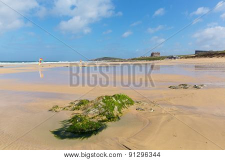 Newquay beach North Cornwall uk in spring one of the best surfing beaches in the UK