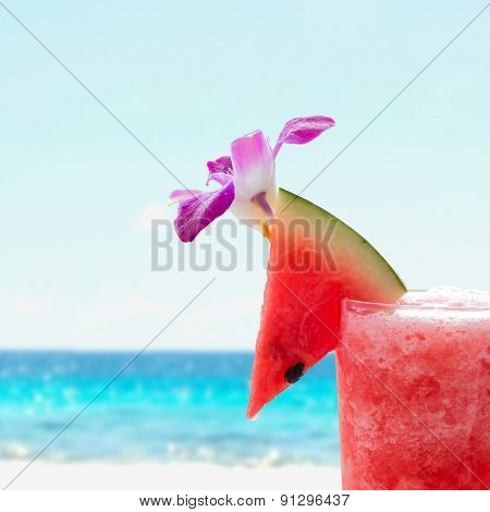 Watermelon On The Top Of Watermelon Juice Glass