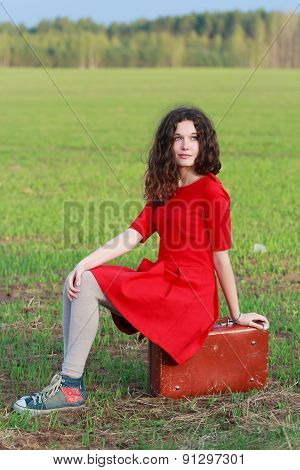 Daydreaming attractive brunette girl during vintage travel in spring farm field